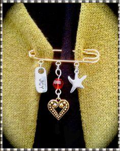 Kilt Pin  Brooch Gold Pin & 3 Charms  Joy  by MalibuStyleDesign, $16.00 - GIVE JOY!