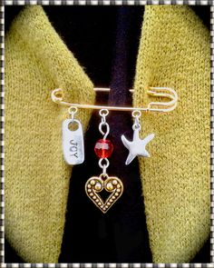 Kilt Pin  Brooch Gold Pin & 3 Charms  Joy  by MalibuStyleDesign, $16.00 - GIVE JOY!