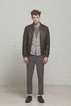Steven Alan Mens Fall 2013: Bedford Leather Jacket / Conroy Cardigan / Brushed Twill Trouser / Piped Wedge Blucher