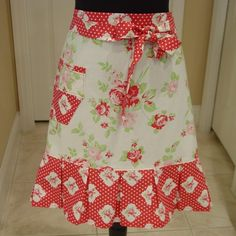 shabby aprons | Shabby Chic Half Apron . . . pink and red roses by FancyBoutique