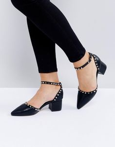 #ASOS - #Missguided Missguided Flat Studded Pointed Heel - Black - AdoreWe.com