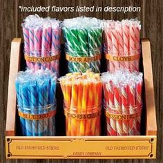 Our Old Fashion Candy Sticks Jar and Rack Combination offers 6 of our best flavors as well as sturdy plastic jars and a retro candy stand! Retro Candy, Vintage Candy, Candy Buffet, Candy Jars, Candy Dishes, Candy Stand, Stick Candy, Candy Store Display, Wholesale Candy