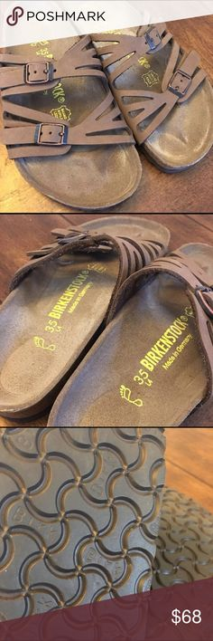 Granada Mocha Birkibuc Birkenstock Great condition! No stains or tears. Very little wear! So cute and comfy! Size 35 but it can fit a 6! Birkenstock Shoes Flats & Loafers