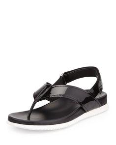 NIB Prada Black Patent Leather Slingback Thong Sandals -  7.5  37.5  ($490) #PRADA #FlipFlops