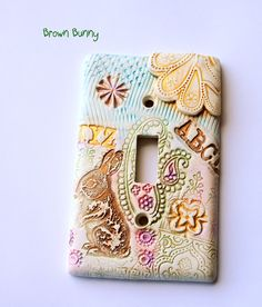 Brown Bunny whimsical light switch cover kids by TMBakerDesigns, $15.00