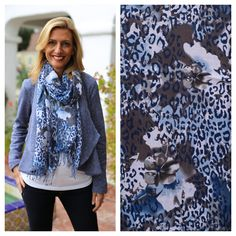 It was a blue kind of day! Wearing our Blue Knit Peplum Jacket with Navy Leopard and Floral Print Scarf - Both items available in our shop www.jacketsociety.com