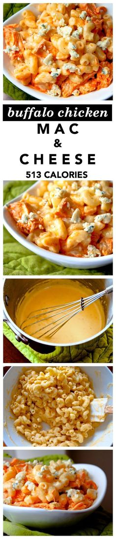 """Creamy Buffalo Chicken Macaroni and Cheese Recipe! This """"comfort in a bowl"""" mac and cheese has shredded chicken, hot sauce, blue cheese, and a homemade cheddar cheese sauce! 531 calories per serving"""