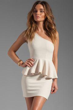 I LOVE this Peplum off the shoulder dress! #cream #white