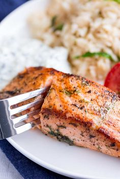 This delicious and easy Greek Salmon is the perfect quick healthy dinner for the whole family. The marinade is a simple mix of olive oil, lemon, dill, and oregano. The fish is pan-fried, giving it a wonderfully crisp exterior and meltingly tender and succulent center. Perfect for serving with orzo and a Greek salad. Transport your self to Greece with the traditional and authentic recipe for Greek Salmon! Delicious Salmon Recipes, Best Seafood Recipes, Fish Recipes, Healthy Recipes, Greek Salmon Recipe, Cooking Salmon Fillet, Fish Marinade, Lemon Potatoes, Pan Seared Salmon