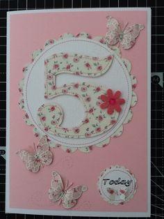 Pretty sweet sixteen handmade birthday card folksy cricut birthday card for a 5 year old girl bookmarktalkfo Image collections
