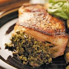 Pesto Rice-Stuffed Pork Chops- yummy but would rather use thin chops and make filling thinner for a sauce