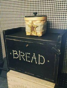 Primitive Wood Breadbox Handmade Bread Box w/ shelf Distressed Rustic Black Kitchen Primitive Kitchen Decor, Primitive Homes, Primitive Furniture, Primitive Crafts, Country Furniture, Rustic Bread Boxes, Wooden Bread Box, Vintage Bread Boxes, Pig Kitchen