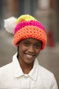 Crochet this hat and make someone's day absolutely bright and cheery.