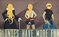 colonel-mustang:      yonderbeasties:          Roy Mustang can go cry in a corner, because it's the blondes of FMA that have the most fun (and the best weapons).          Olivier Mira Armstrong, Winry Rockbell, and Riza Hawkeye, respectively.          This was made with cut paper and painted gouache accents, plus some digital type/tinkering.      If I weep, it is because I am overcome with beauty.