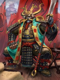 The new Samurai skin for Odin in Smite. I love Kurosawas Samurai movies so doing this was quite a treat, although he has a lot of detailing going on. Character Concept, Character Art, Character Design, Kabuto Samurai, Samurai Warrior Tattoo, Chibi, Samurai Artwork, Mickey Mouse, Medieval