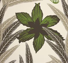 Palmnava Wallpaper A large contemporary tropical floral wallpaper in black, green, brown and taupe, designed by Swedish designer Hanna Werni...