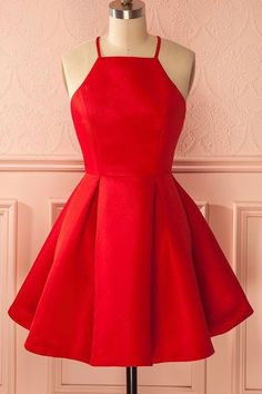 Princess Prom Dresses, 2019 Simple Satin Homecoming Dresses Spaghetti Straps A Line Short/Mini, Plus Size Formal Dresses and Plus Size Party Dresses are great for your next special Occassion at cheap affordable prices The Dress Outlet. Homecoming Dresses Under 100, Short Red Prom Dresses, Cute Red Dresses, Dama Dresses, Hoco Dresses, Dresses For Teens, Simple Dresses, Cheap Dresses, Short Prom