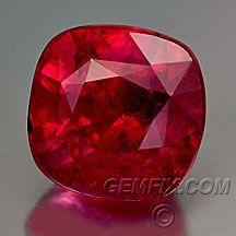 Ruby Mixed Cut Cushion - Weight: 2.41 cts - Measurements: 7.10 x 7.00 mm x 5.50 mm - Clarity: VS -Origin: Tanzania - Enhancements: None Price: $ 11950.00 - Absolutely stunning ruby. Unusually large, no glaring inclusions, color is cool red with no pink or purple.