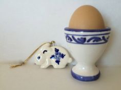 Ceramic Egg Cup AND Bunny Rabbit Set Ornament Blue by TizaVintage