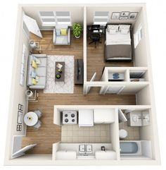 45 Adorable One Bedroom Apartment Design Ideas - Luxurious one-bedrooms usually transcend these fundamental necessities and embrace extra rooms, resembling a eating room, den or loft space. Layouts Casa, Bedroom Layouts, House Layouts, Sims House Plans, Small House Plans, House Floor Plans, Apartment Layout, One Bedroom Apartment, Apartment Design