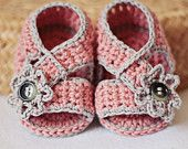 Instant download - Baby Booties Crochet PATTERN (pdf file) - Diagonal Strap Sandals