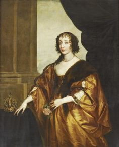 Attributed to the studio of Sir Anthony van Dyck (1599-1641) - Henrietta Maria (1609-1669)