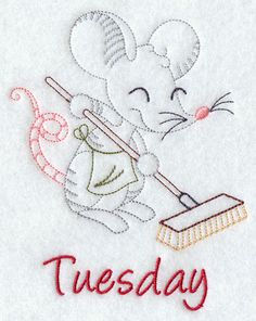 Image by EMBROIDERY LIBRARY INC - Spring Cleaning Mouse on Tuesday