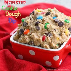 Monster Cookie Dough Dip Ingredients 1 (8 ounce) package cream cheese, softened ½ cup butter, slightly softened 1 cup creamy peanut butter 2 cups powdered sugar 3 Tablespoons brown sugar 1/4 cup all-purpose flour 1 teaspoon vanilla 2 ½ cups rolled oats, old fashioned or quick (see Note) 2/3 cup plain M&Ms (give or take) 1 cup semi-sweet chocolate chips Instructions With a hand mixer Click for full recipe.