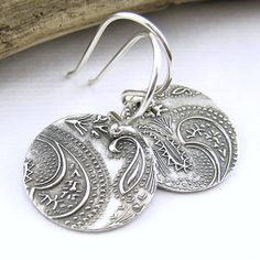 Paisley Earrings Dangle Silver Earrings Tiny by JenniferCasady