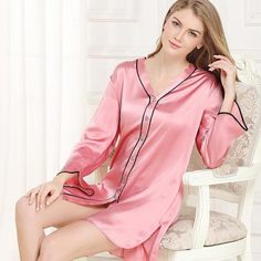 Lake Blue Long Sleeves Silk Women Nightshirts Fresh Night Dress Silk Nightgown Plus Size Pink XL Pyjama Satin, Night Shirts For Women, Silk Nightgown, Sexy Pajamas, Satin Sleepwear, Nightgowns For Women, Pretty Lingerie, Sleep Shirt, Comfortable Fashion