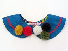 Carnival Pom Pom Felt Collar Blue by samanthastas on Etsy, £19.00
