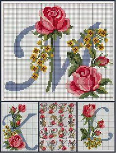 Cross Stitch Alphabet Patterns, Cross Stitch Letters, Cross Stitch Bookmarks, Cross Stitch Cards, Cross Stitch Flowers, Cross Stitch Designs, Cross Stitching, Basic Embroidery Stitches, Flower Embroidery Designs