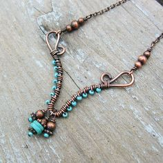 Antiqued Copper and Turquoise wire wrapped by BearRunOriginals, $28.00