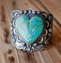 Silver and turquoise heart cuff