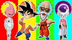 Colors for Children to Learn Wrong Heads Goku trolls Dragon Ball Z Finge...