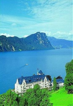 PARK HOTEL VITZNAU, Vitznau, Lucerne, Switzerland - A beautiful hotel on Lake Lucerne with lovely lawns and gardens and a view of the lake.  You may want to take a ride on the cog railway or aerial tramway to the top of Mount Rigi with some of Switzerland's most beautiful mountain views.  Then have dinner at the hotel's restaurant, Quatre Cantons with its French menu.