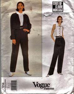 1716 Vogue Pattern Claude Montana Misses' Jacket Top & Pants  Size 8-10-12 Uncut #VoguePatternsParisOriginal #ClaudeMontana