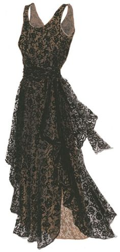 1930's Vintage Black Lace Dress.