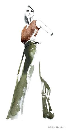 #watercolor #fashion #sketch from life at the Society of Illustrators, NYC.