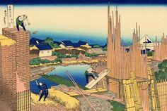 Honjo Tatekawa, almacén de madera en Honjo. 本所立川 Honjo Tatekawa