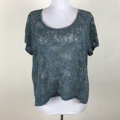 Kimchi Blue Blouse L Teal Crochet Floral Semi Sheer Boho Button Back Short Slv #KimchiBlue #Blouse