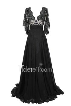 Exquisite V Neck Ruffle Sleeve Chiffon Long Mother Of The Bride Dress With Embroidery