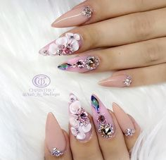 Gel Nail Designs You Should Try Out – Your Beautiful Nails Glam Nails, Bling Nails, 3d Nails, Stiletto Nails, Love Nails, How To Do Nails, Pastel Nails, 3d Acrylic Nails, Nail Nail