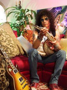 Guns n' Roses Guitarist Slash with Pet Snake