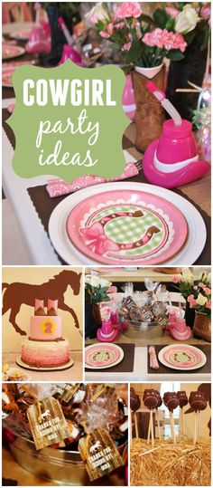 What a fantastic cowgirl party! Love the ruffle cake and horse cake pops… Diva Birthday Parties, 5th Birthday Party Ideas, Cowgirl Birthday, Cowgirl Party, Horse Party, Western Parties, Pony Party, Horse Cake, Ideas Party