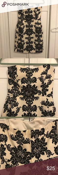 """Strapless Brocade Dress Only worn once! Strapless with hidden zipper. Lightly lined over bust. Bought at Francesca's- brand is """"buttons"""" Francesca's Collections Dresses Strapless"""