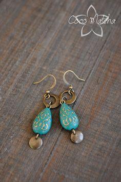 Boucles d'oreilles Blue Morocco par CocoMatcha sur Etsy