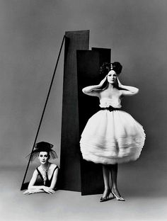 August 1958 Dovima (L) and Betsy Pickering in dresses by Lanvin-Castillo, photographed by Richard Avedon.