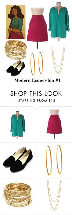 """Modern Esmerelda #1"" by spikequeen ❤ liked on Polyvore featuring Disney, Two by Vince Camuto, J.Crew, Yossi Harari, ABS by Allen Schwartz, Gorjana and modern"