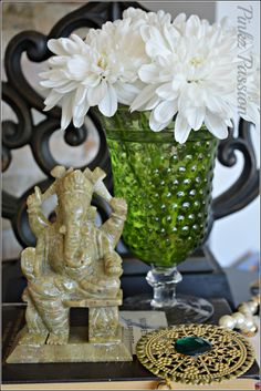 Green jade Ganesha, crystal wine glass, stone mala, Indian home décor, green vignette